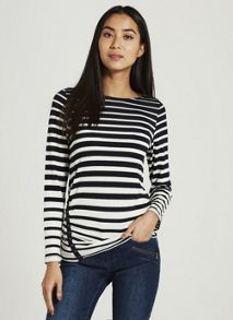 Mint Velvet Ink/Ivory Graduated Stripe Tee