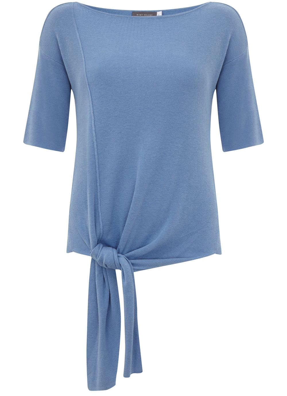 Mint Velvet Bluebell Knotted Tee, Blue