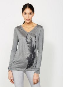 Mint Velvet Silver Grey Feather Print Tee
