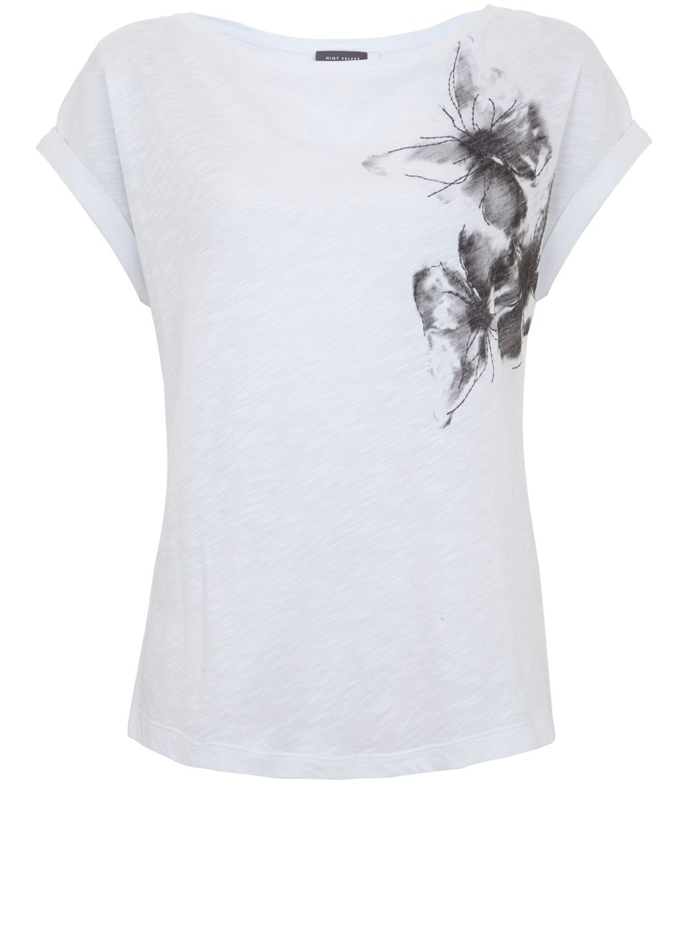 Mint Velvet Ivory Butterfly Embroidered Tee, White