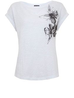 Ivory Butterfly Embroidered Tee
