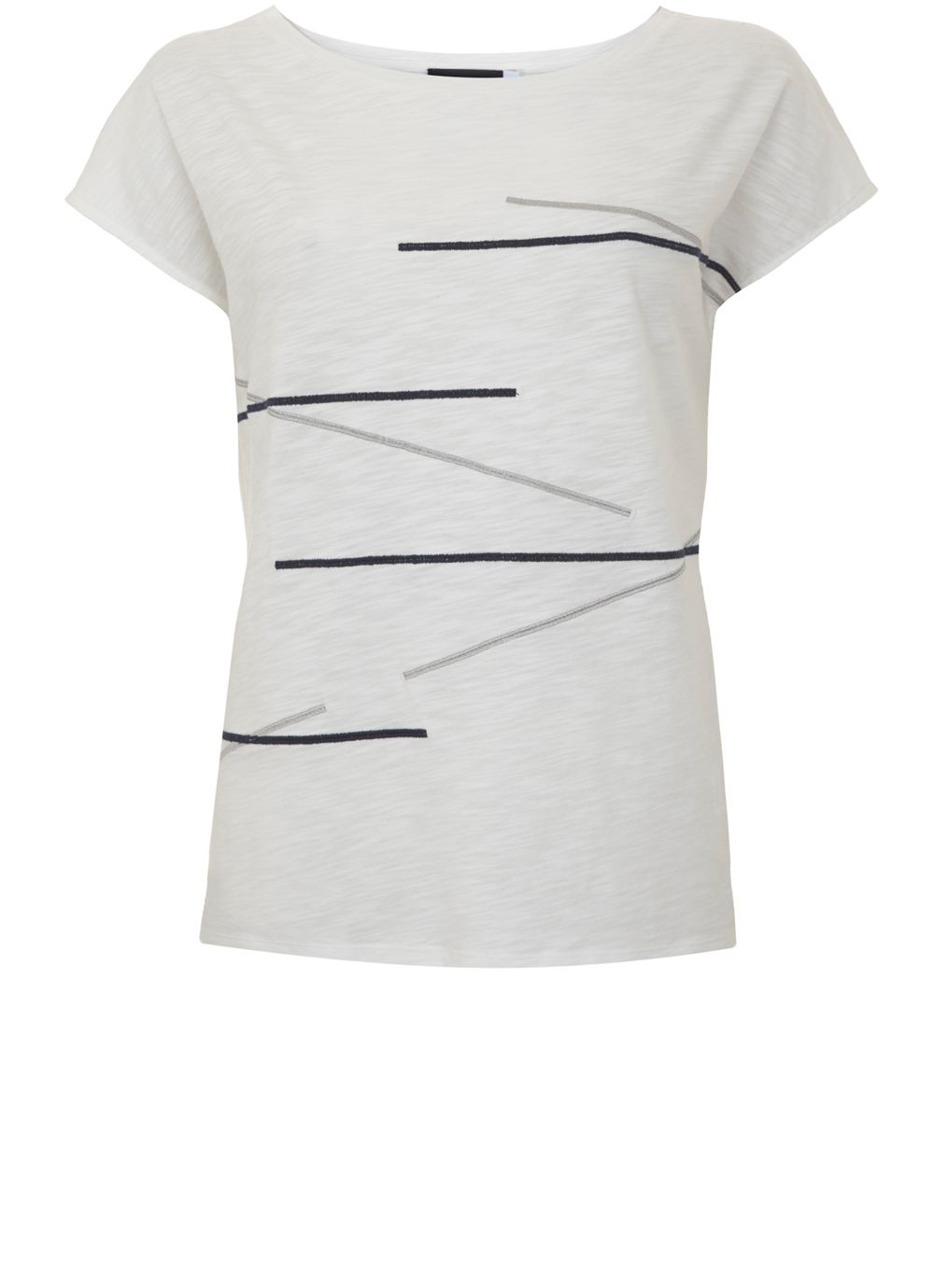 Mint Velvet Ivory & Ink Abstract Print Tee, Multi-Coloured