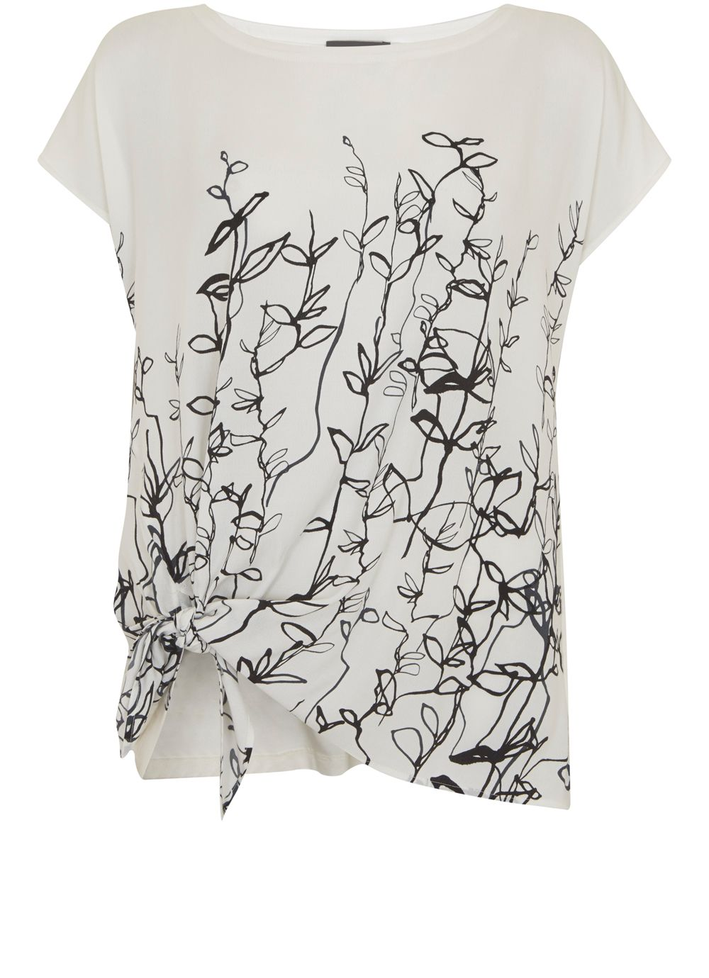 Mint Velvet Dakota Print Knot Front Tee, Multi-Coloured