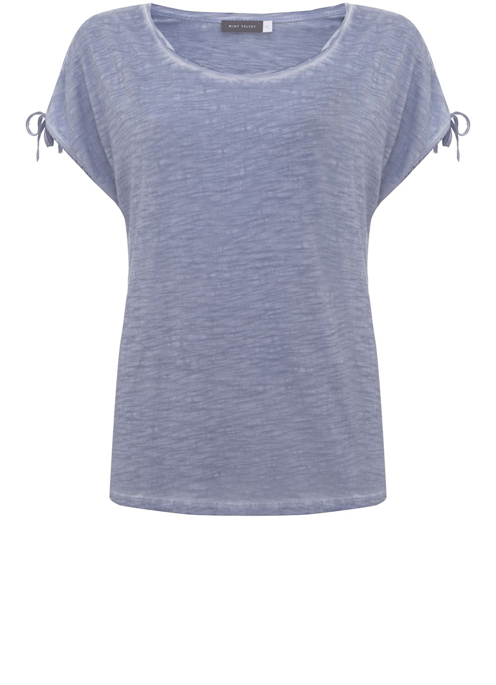 Mint Velvet Chambray Tie Sleeve Tee, Light Blue
