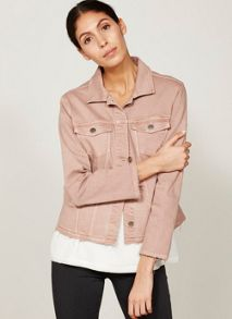 Mint Velvet Nude Frayed Hem Denim Jacket