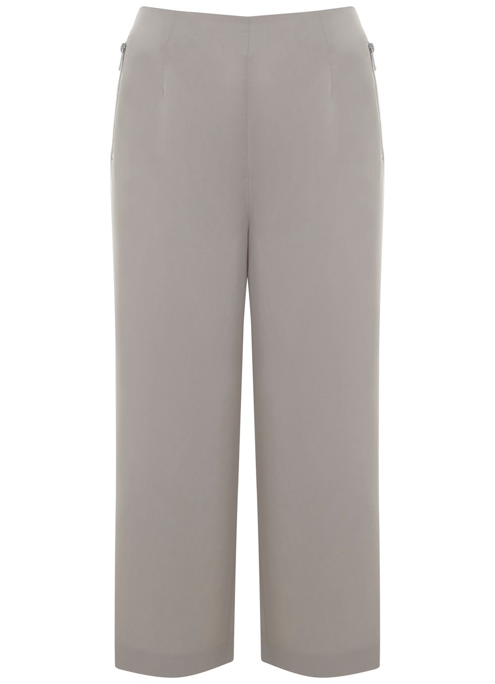 Mint Velvet Oyster Wide Leg Crop Trouser, Neutral