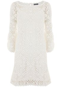 Mint Velvet Ivory Crochet Dress