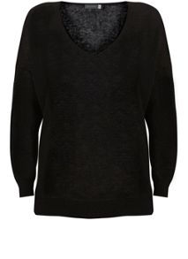 Mint Velvet Black V-Neck Side Split Knit