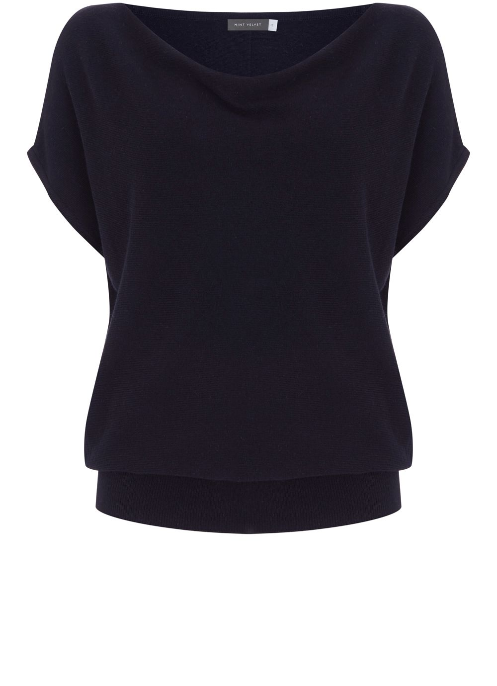 Mint Velvet Ink Short Sleeve Batwing, Dark Blue