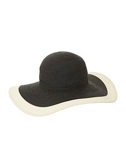 Black Colourblock Floppy Sunhat