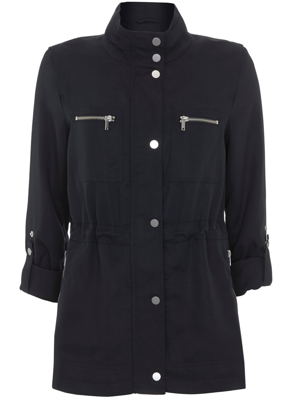 Mint Velvet Ink Safari Jacket, Dark Blue