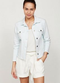Mint Velvet Light Wash Indigo Frayed Hem Denim Jacket