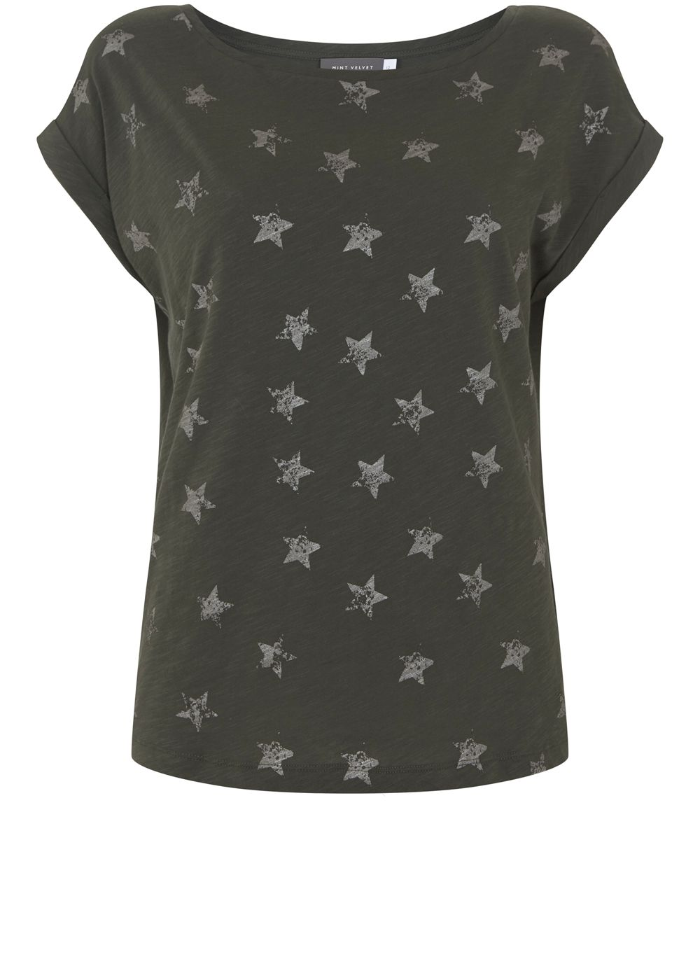 Mint Velvet Khaki Metallic Star Tee, Dark Green
