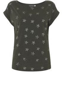 Mint Velvet Khaki Metallic Star Tee