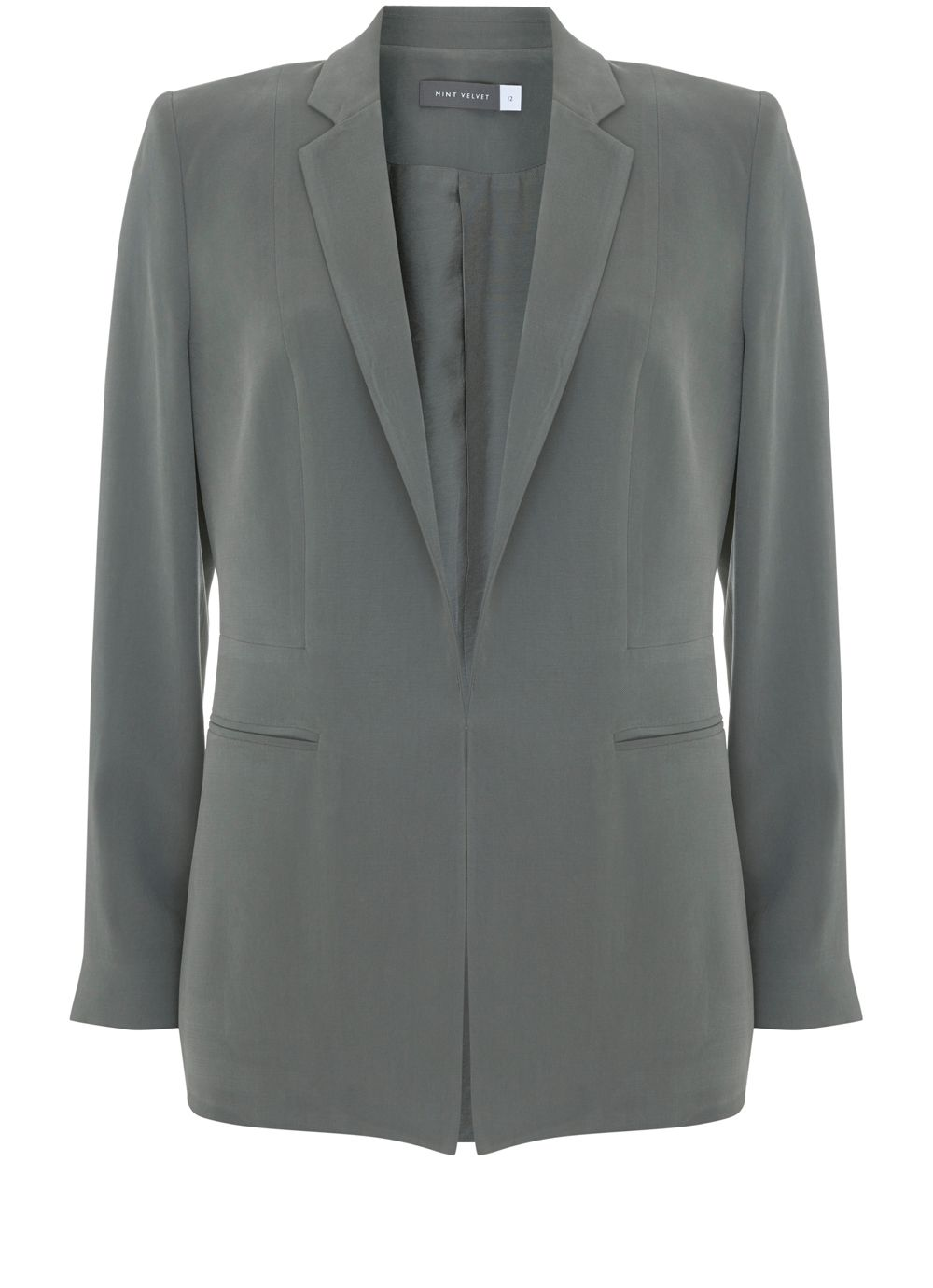 Mint Velvet Khaki Tailored Blazer, Dark Green