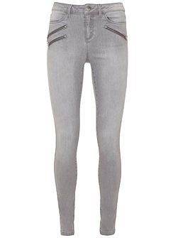 Lakewood Grey Triple Zip Skinny Jean