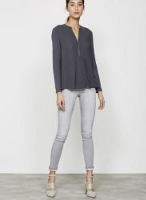 Mint Velvet Lakewood Grey Triple Zip Skinny Jean