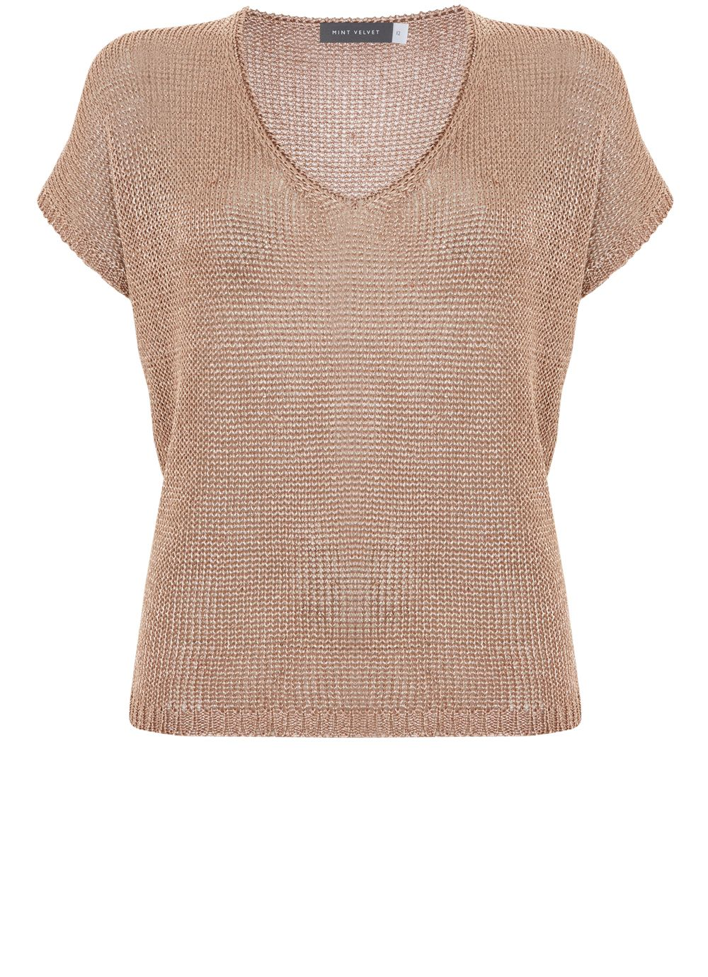 Mint Velvet Rose Gold Tape Yarn Tee, Silverlic