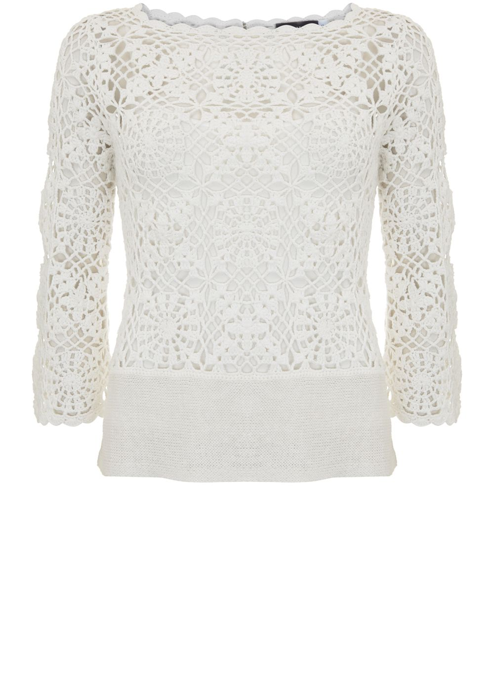Mint Velvet Crochet Flared Sleeve Knit, White