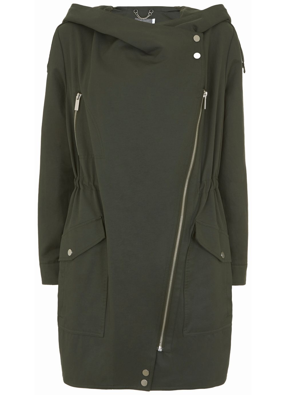 Mint Velvet Khaki Lightweight Parka, Dark Green