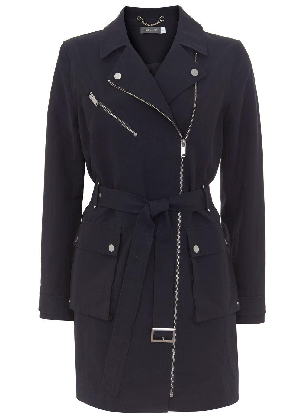 Mint Velvet Ink Zip Detail Trench Coat, Dark Blue