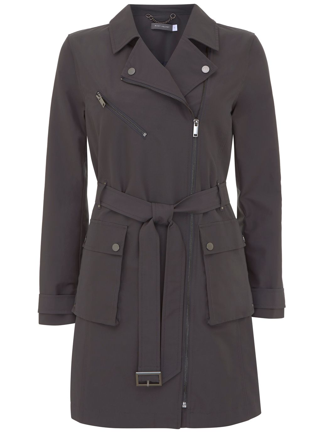 Mint Velvet Graphite Zip Detail Trench Coat, Dark Grey