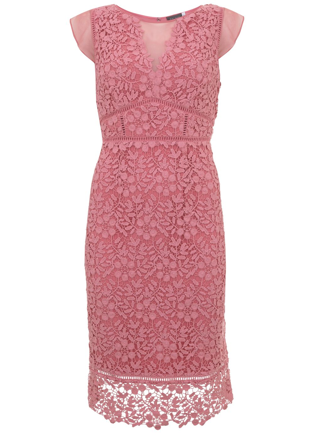 Mint Velvet Peony Lace Dress, Pink