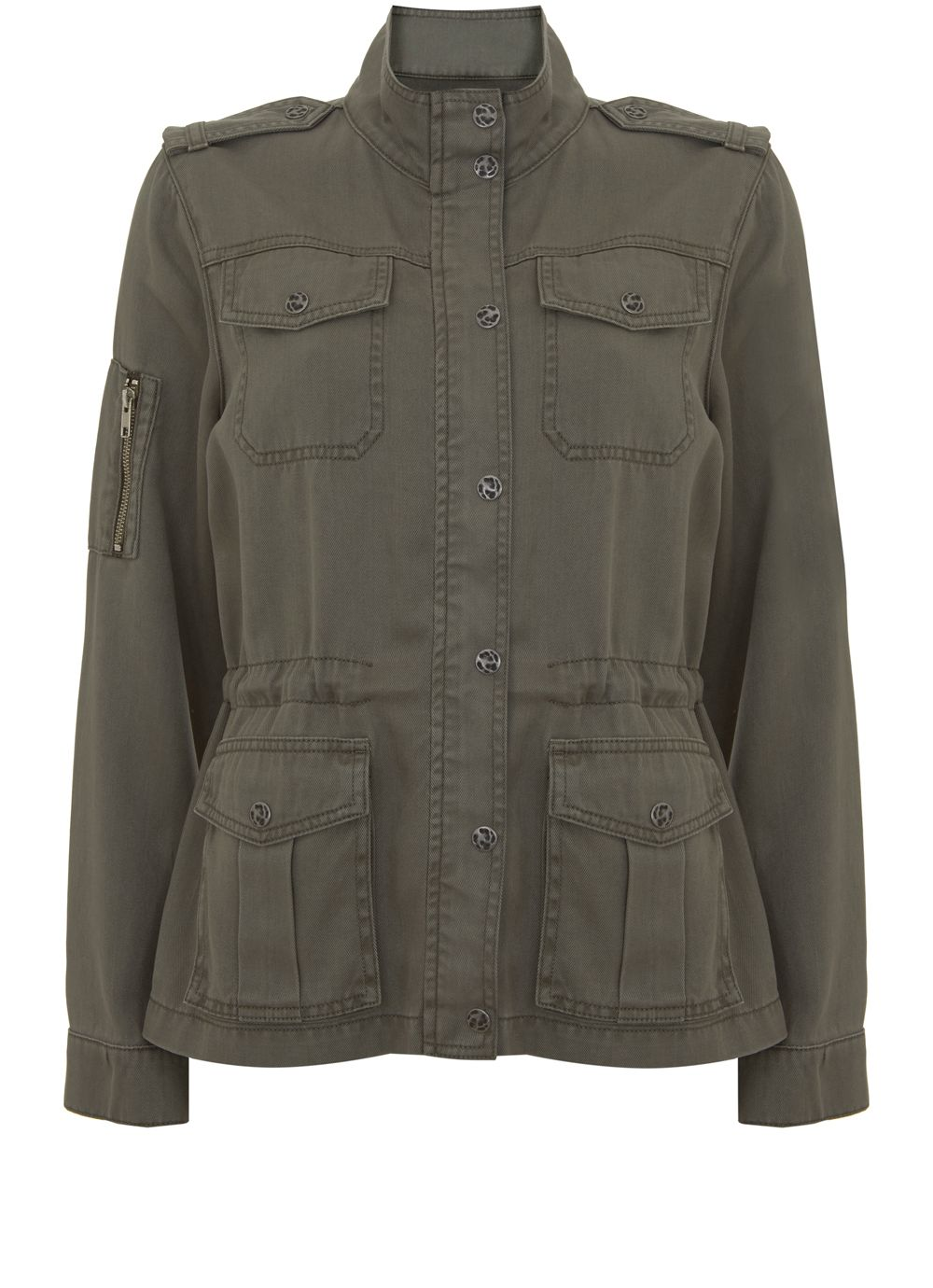 Mint Velvet Khaki Pocket Detail Jacket, Dark Green
