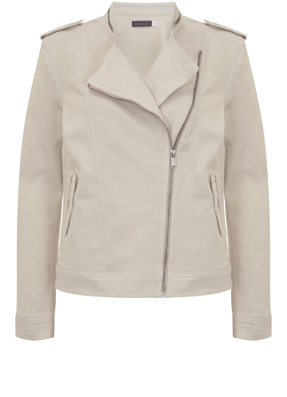Mint Velvet Neutral Denim Military Jacket, Neutral