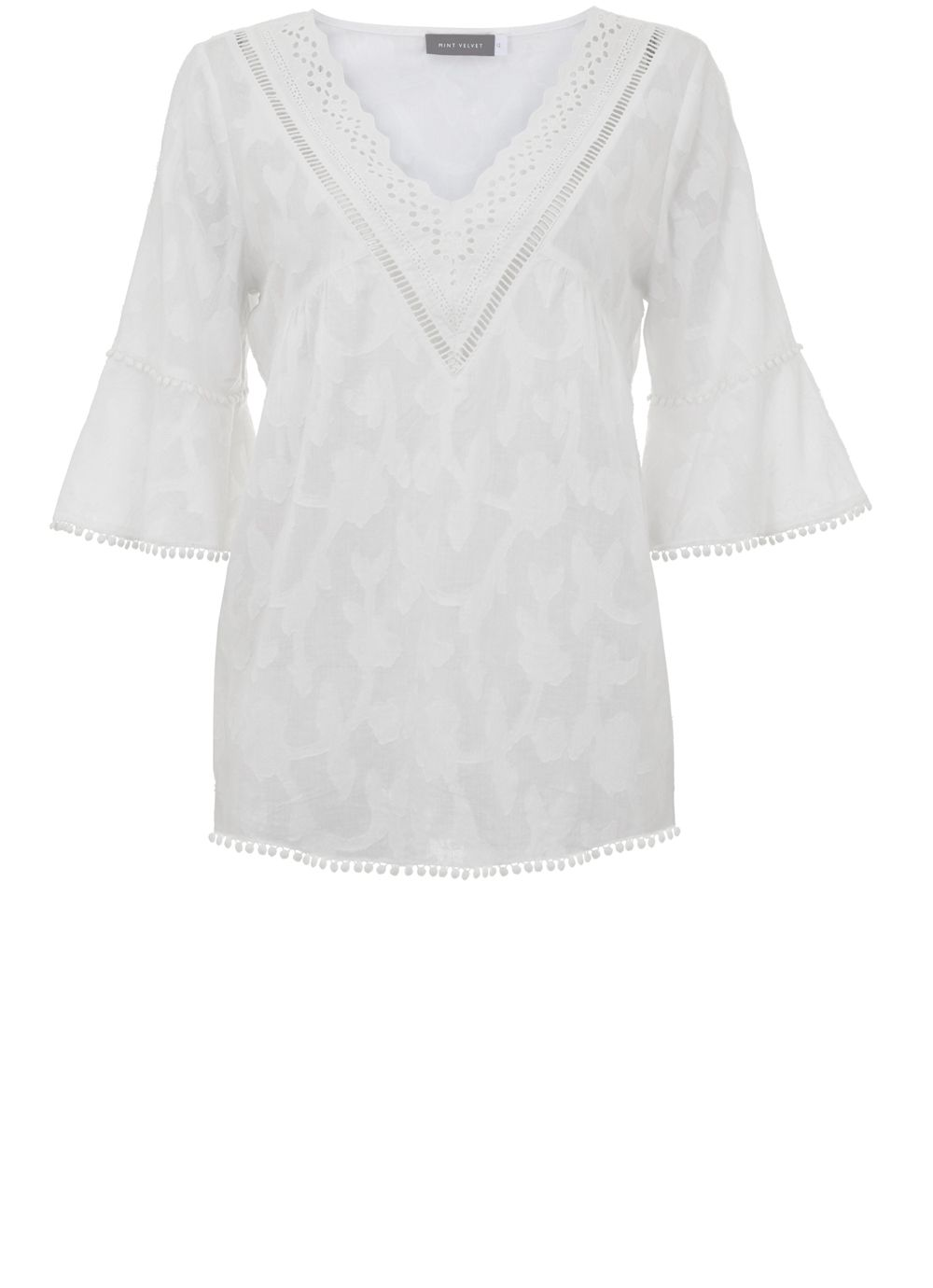 Mint Velvet Ivory Floral Burnout Blouse, White