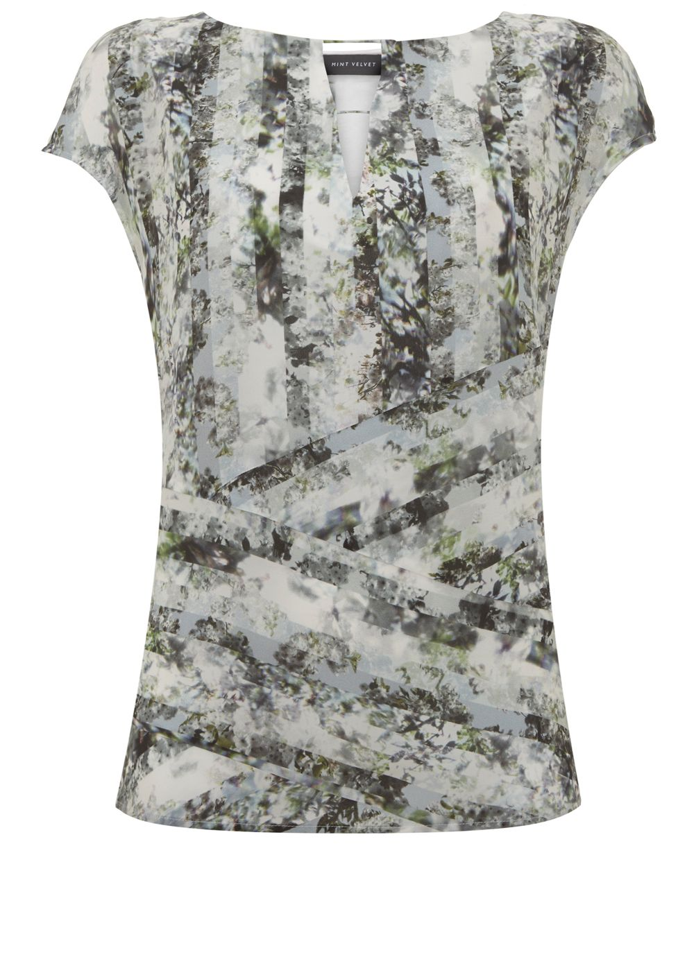 Mint Velvet Immy Print Silk Front Tee, Multi-Coloured