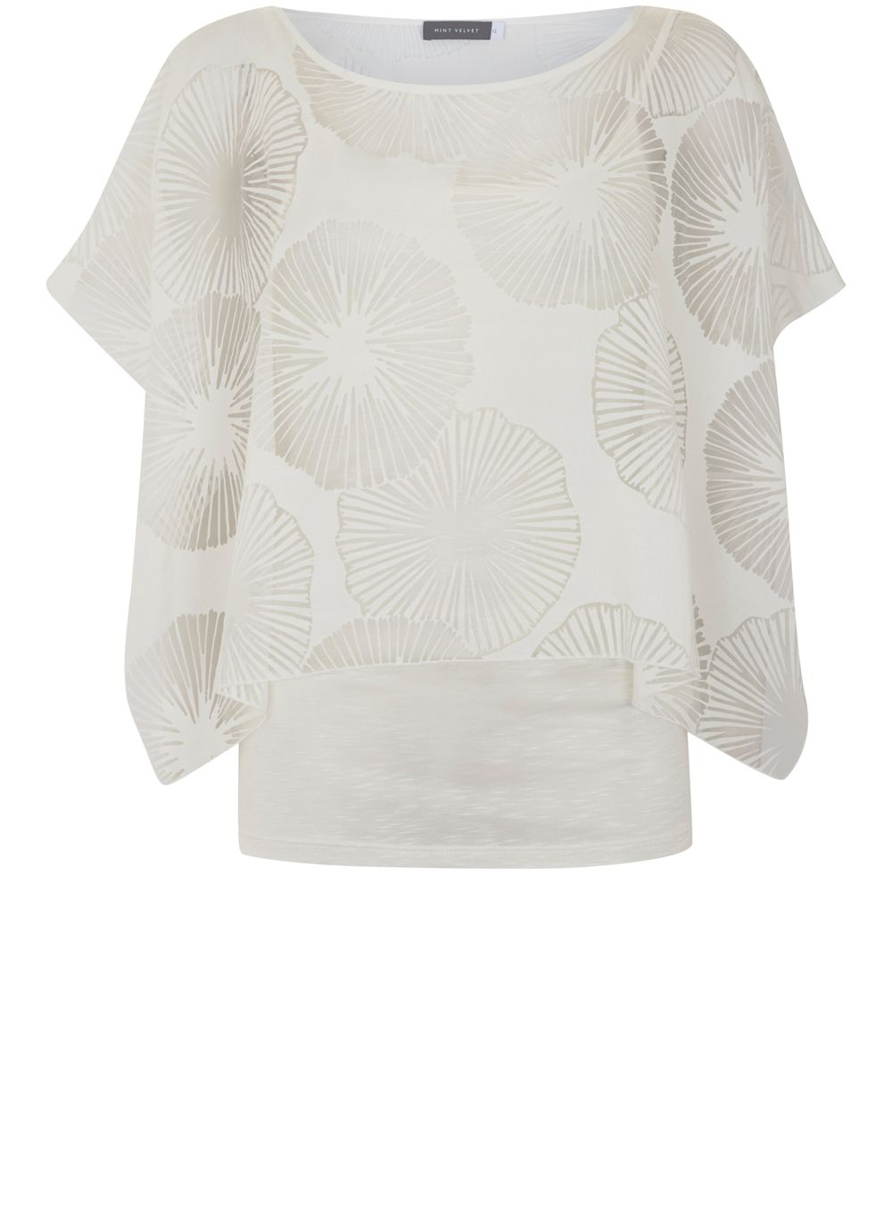 Mint Velvet Ivory Burnout Square Cut Top, White