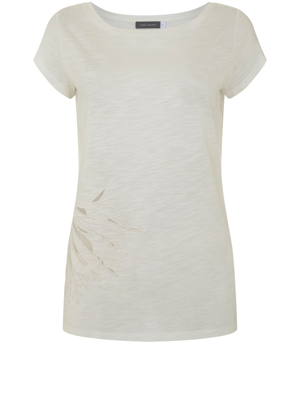 Mint Velvet Ivory Cutwork Flower Tee, White