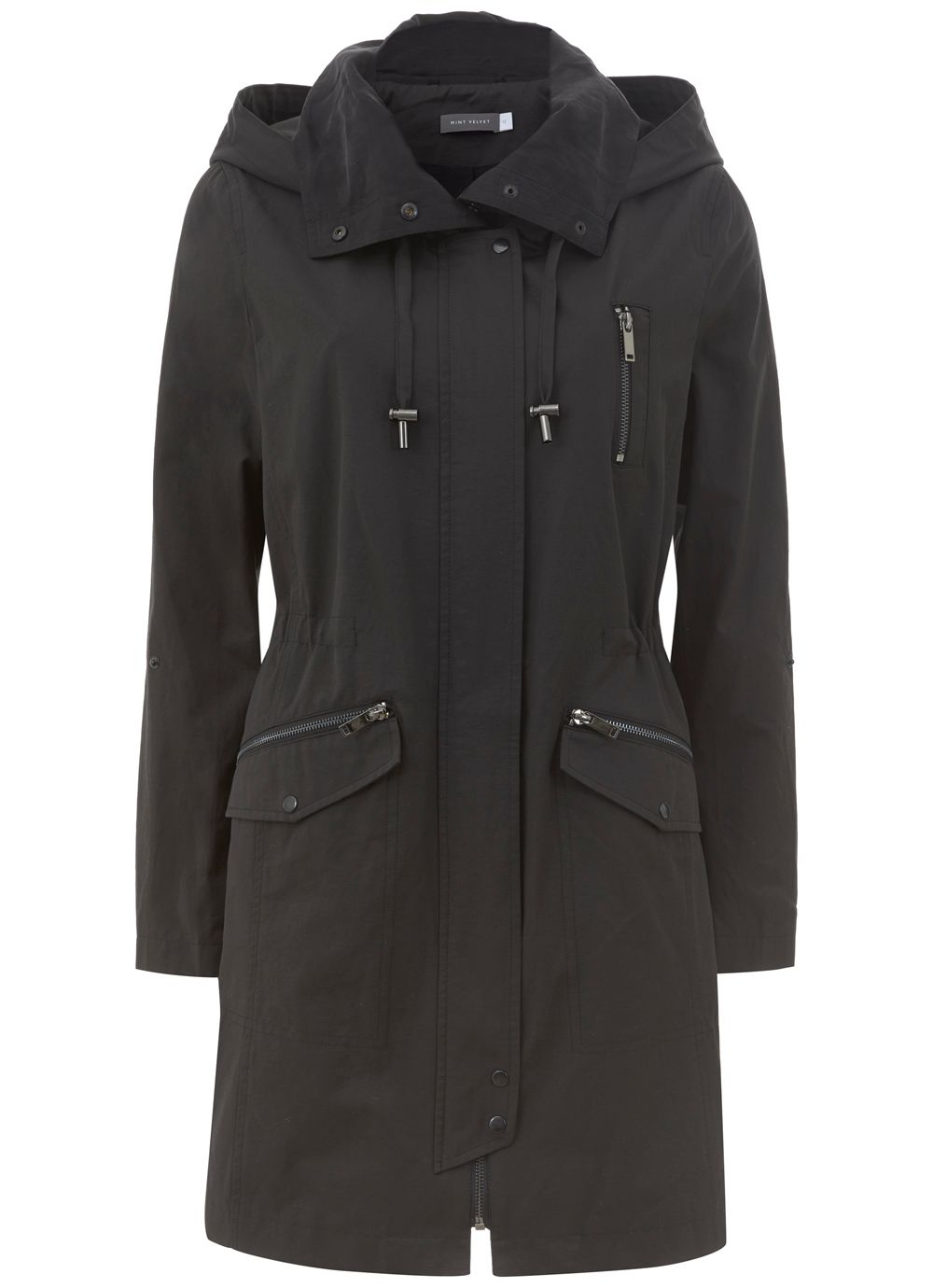 Mint Velvet Black Cupro Collar Parka, Black