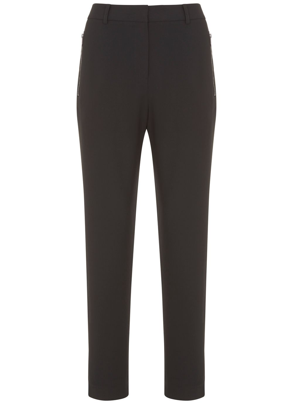 Mint Velvet Black & Khaki Stripe Luxe Zip Pant, Black