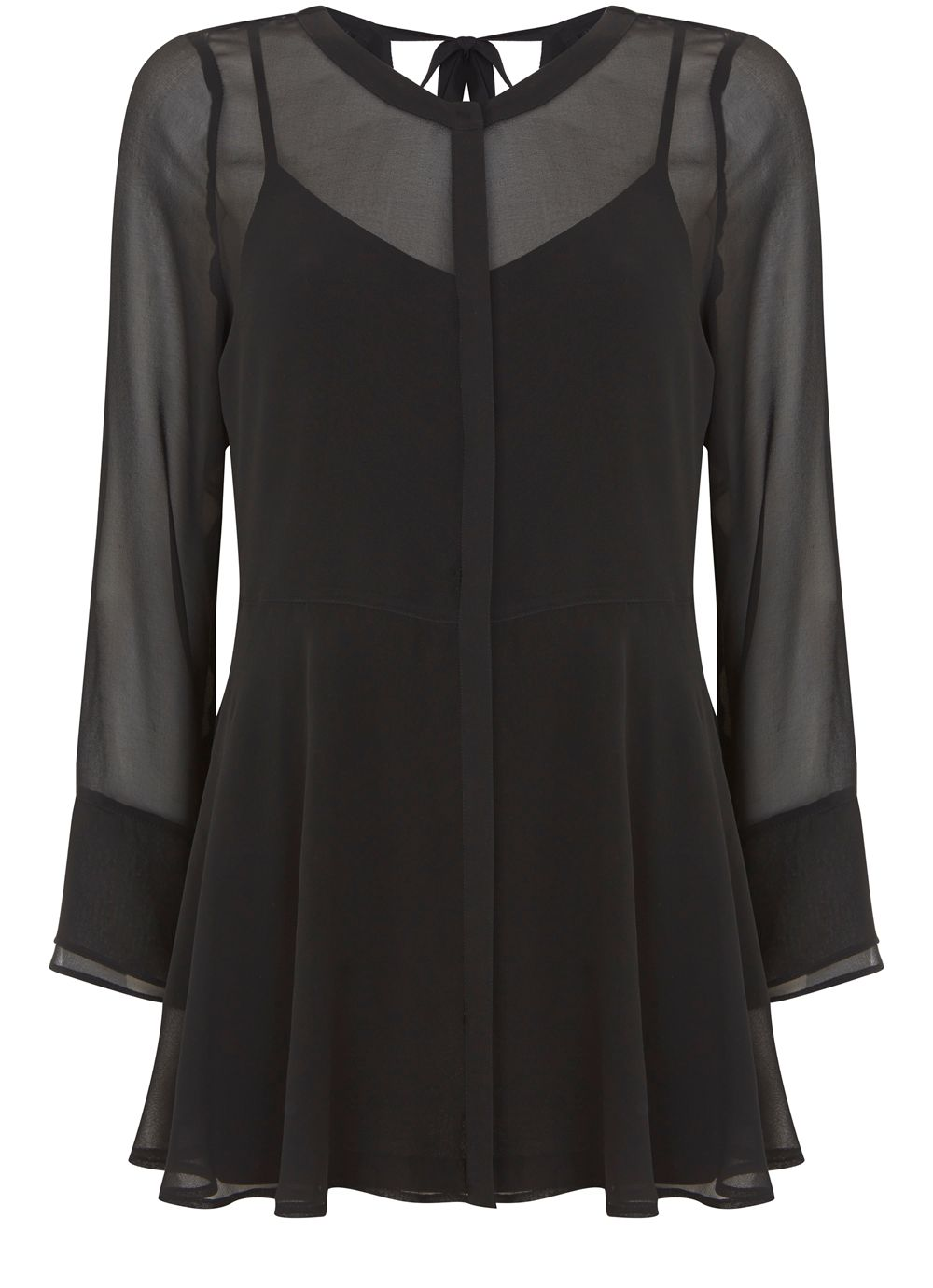 Mint Velvet Black Ruffle Tunic, Black