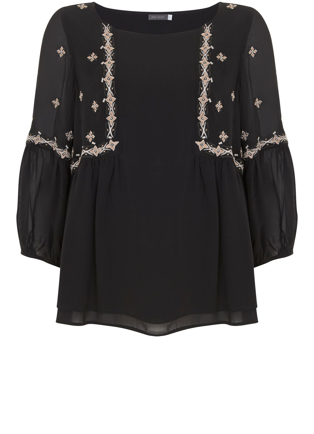 Mint Velvet Black Embroidered Swing Top, Black