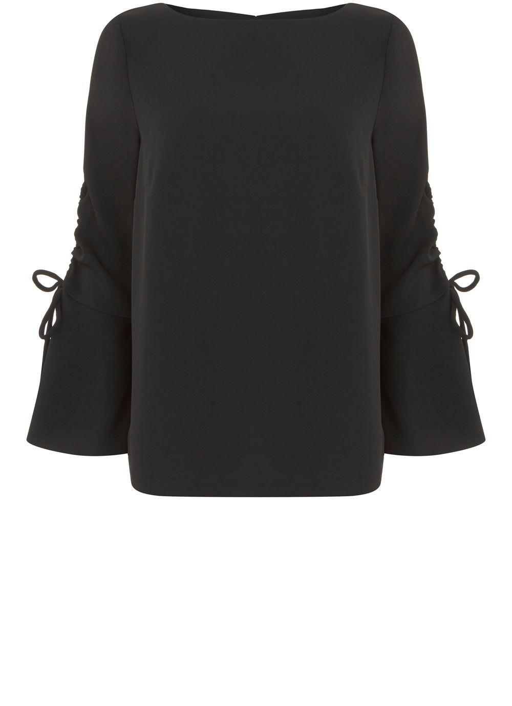 Mint Velvet Black Fluted Sleeve Blouse, Black
