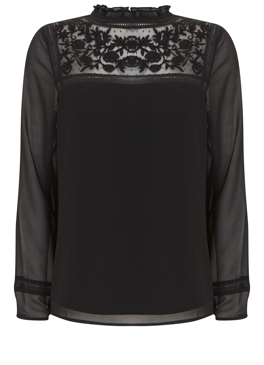 Mint Velvet Black Victoriana Blouse, Black