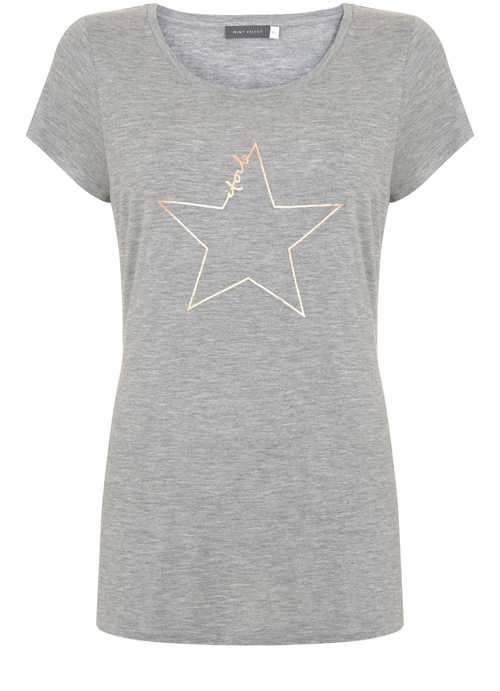 Mint Velvet Silver Grey Etoile Star Tee, Light Grey