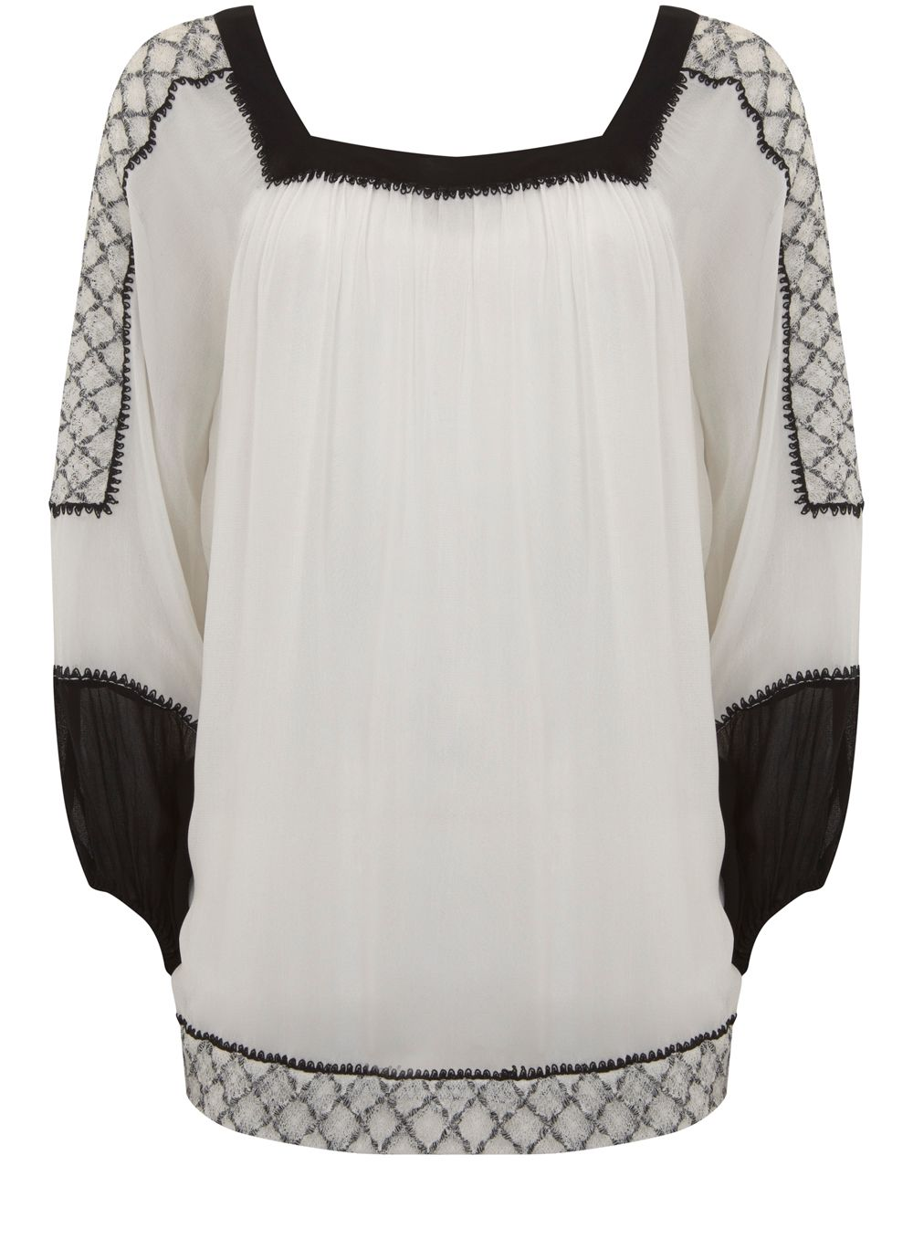 Mint Velvet Ivory Embroidered Sleeve Blouse, White