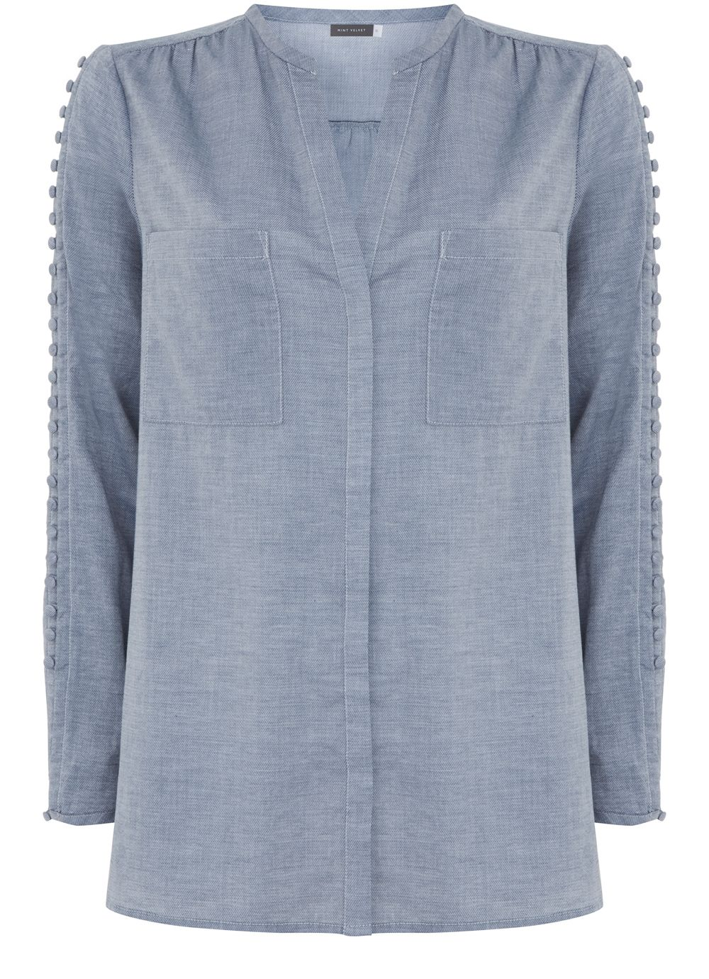 Mint Velvet Chambray Shirt, Light Blue