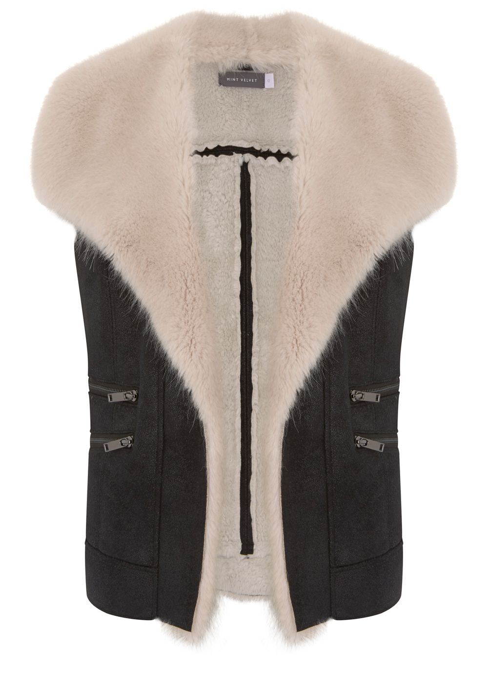 Mint Velvet Black & Cream Faux Fur Gilet, Black