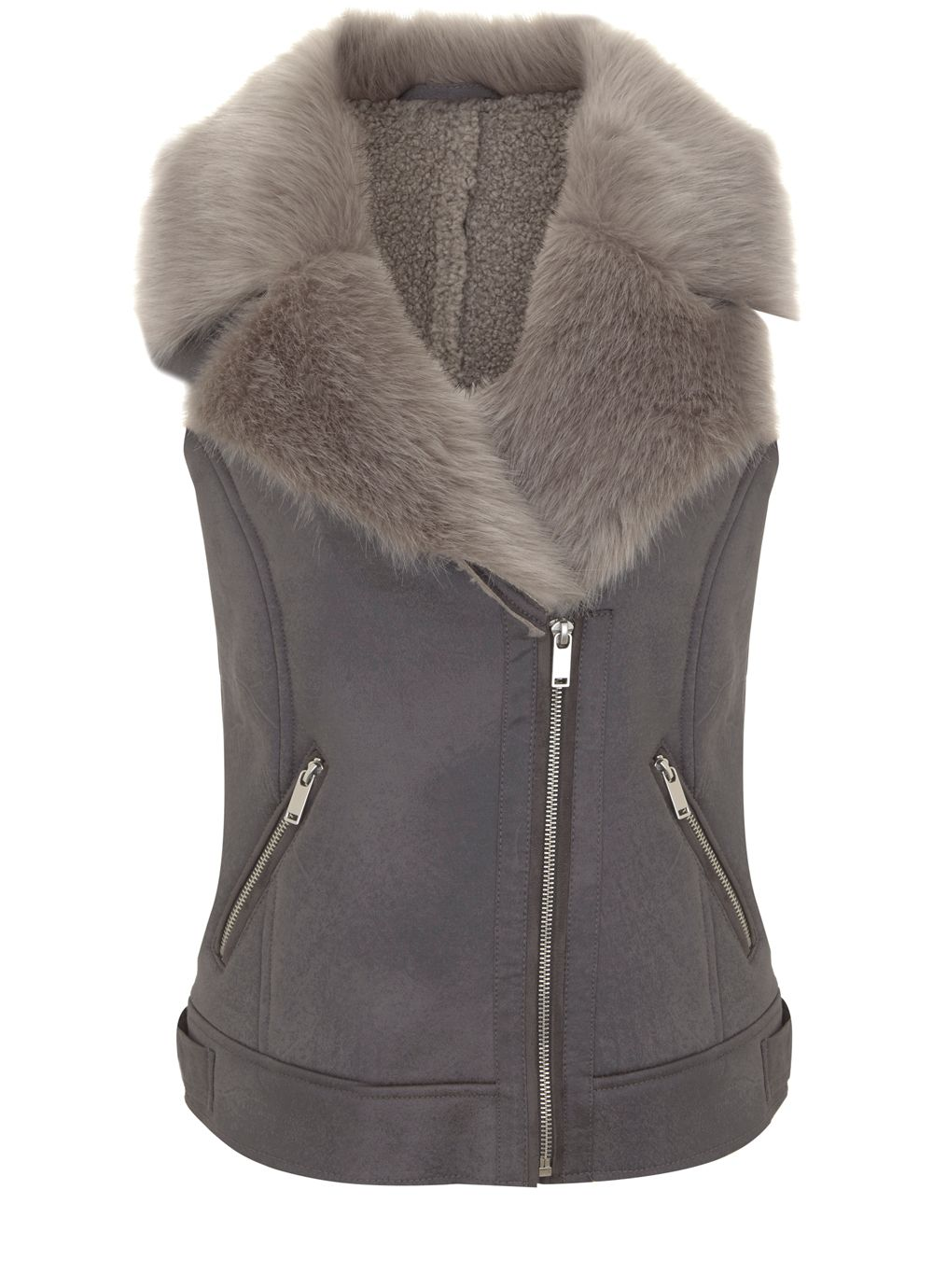 Mint Velvet Grey Faux Fur Aviator Gilet, Light Grey