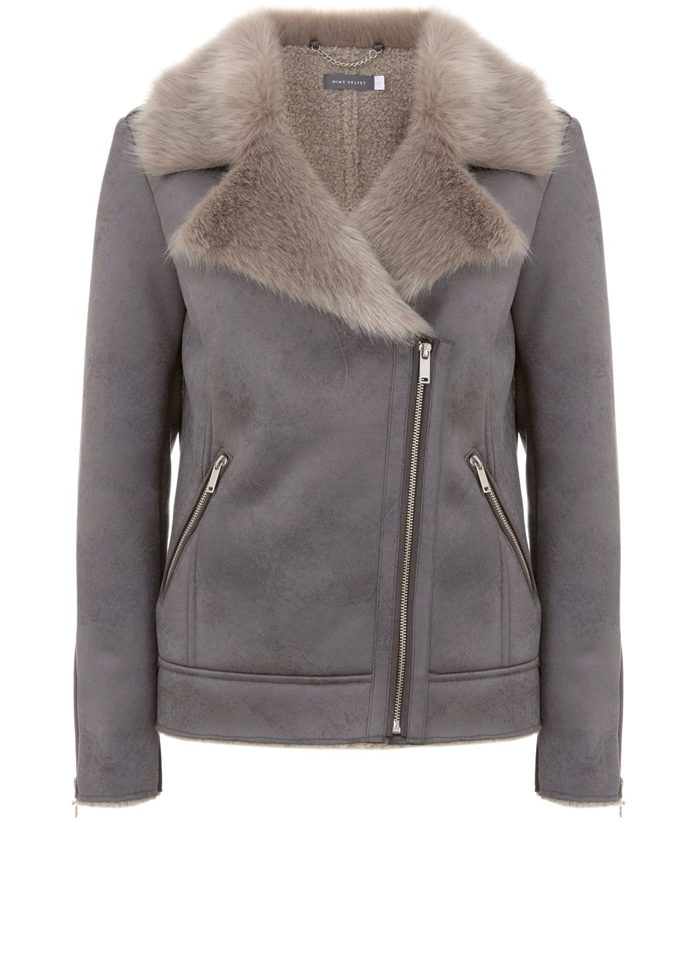 Mint Velvet Grey Faux Fur Aviator Jacket, Light Grey
