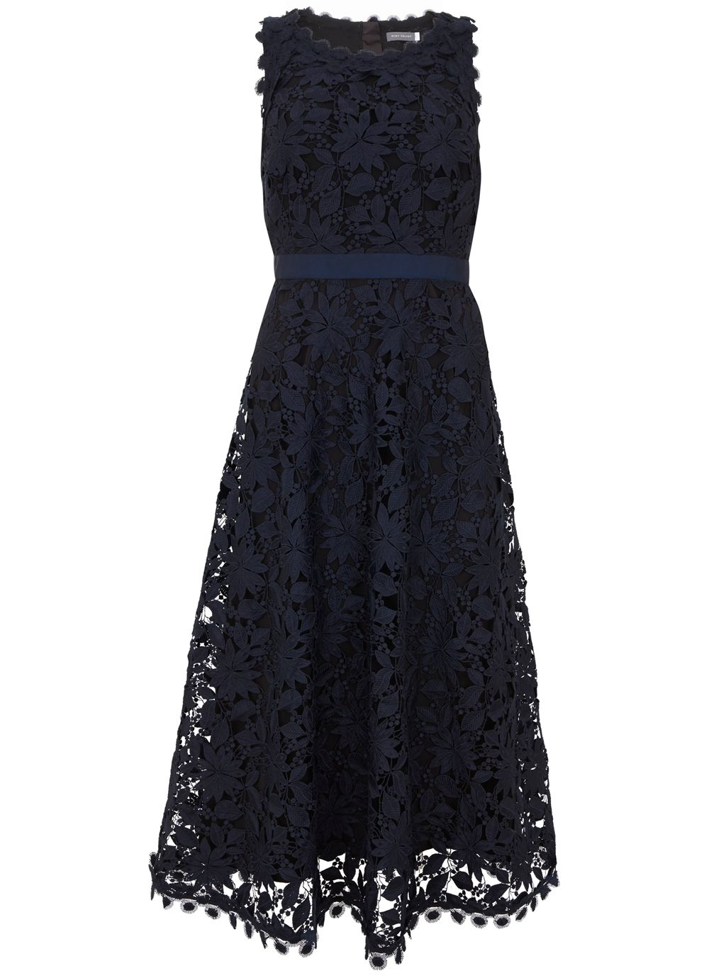 Mint Velvet Ink Lace Full Dress, Dark Blue