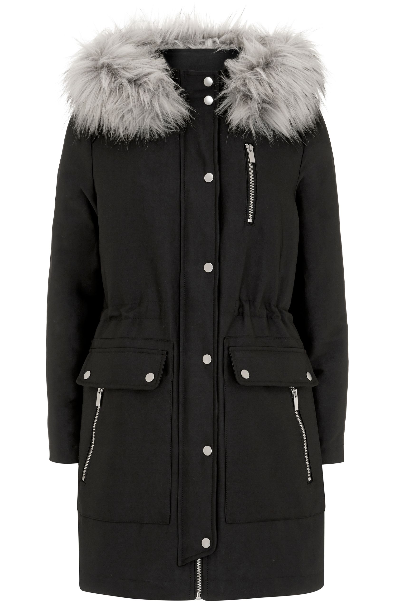 Mint Velvet Black Luxe Faux Fur Trim Parka, Black