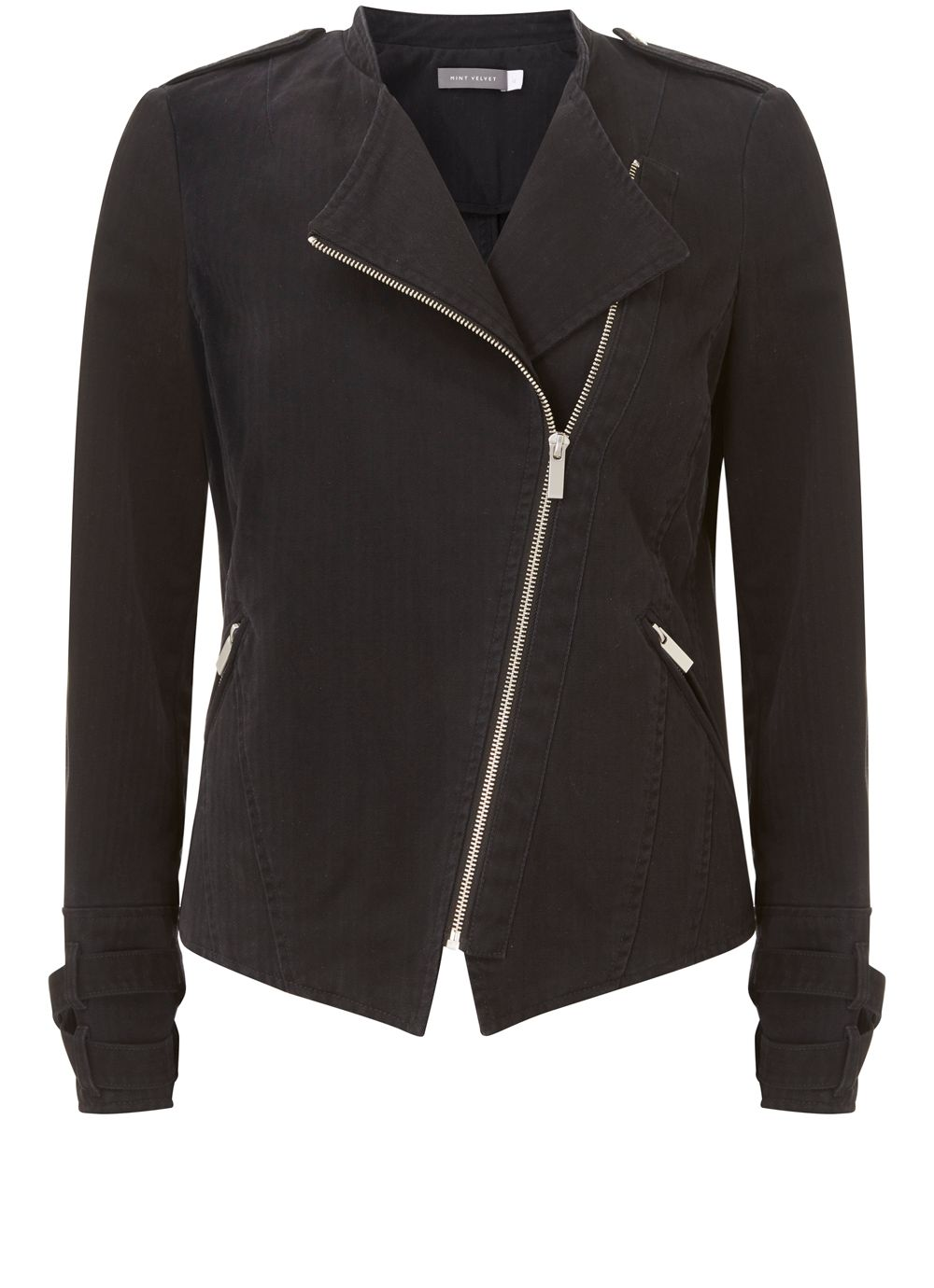Mint Velvet Black Casual Cotton Zip Biker Jacket, Black