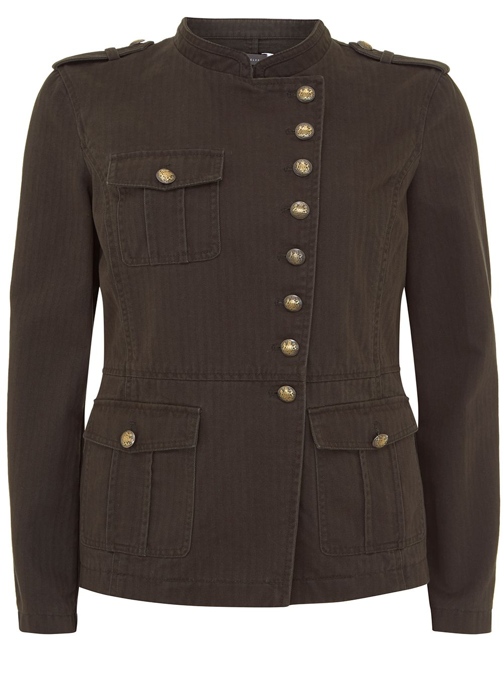 Mint Velvet Khaki Washed Military Jacket, Dark Green