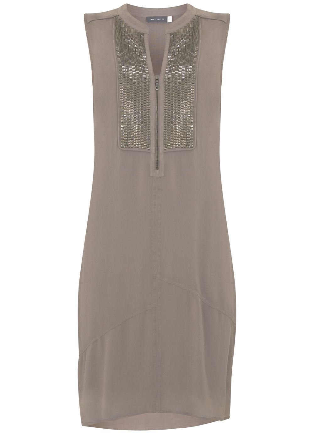 Mint Velvet Latte Sequin Bib Cocoon Dress, Neutral